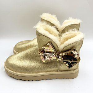 Ugg NEW Gold Shimmer Sequin Bow Mini Boots 6